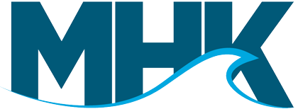 the MHKDR logo, a blue wave transposed over the letters M H K